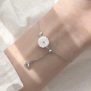 NEW 925 Sterling Silver White Daisy Bracelet